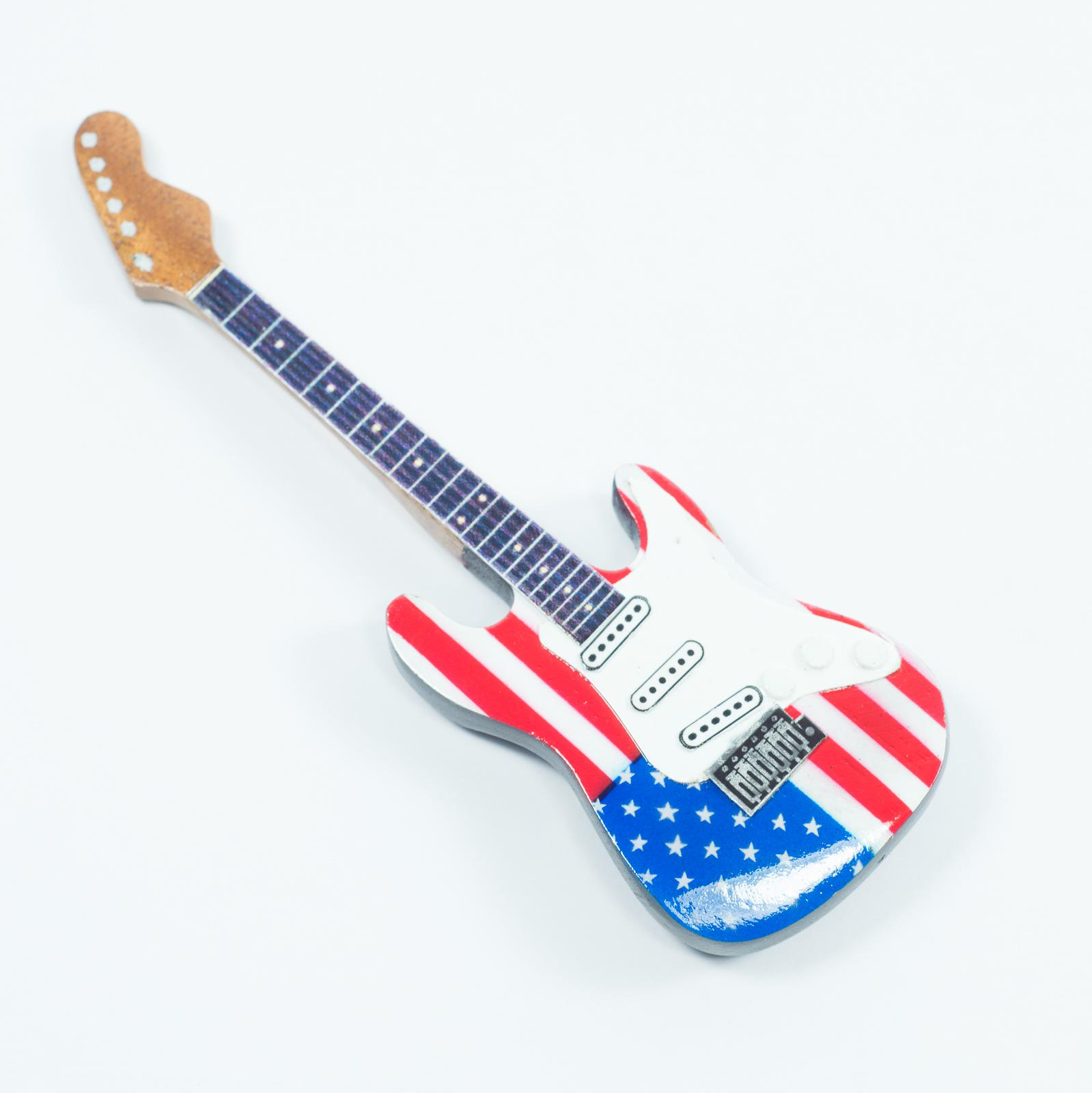 Guitar Shaped Magnet For Fridge - USA Flag